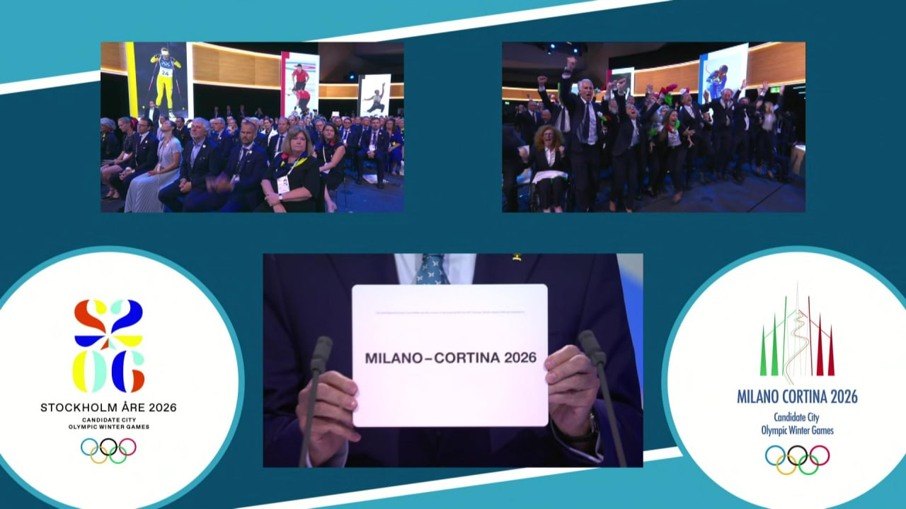 WATCH: Moment the 2026 Winter Olympics were awarded to Milan-Cortina d'Ampezzo