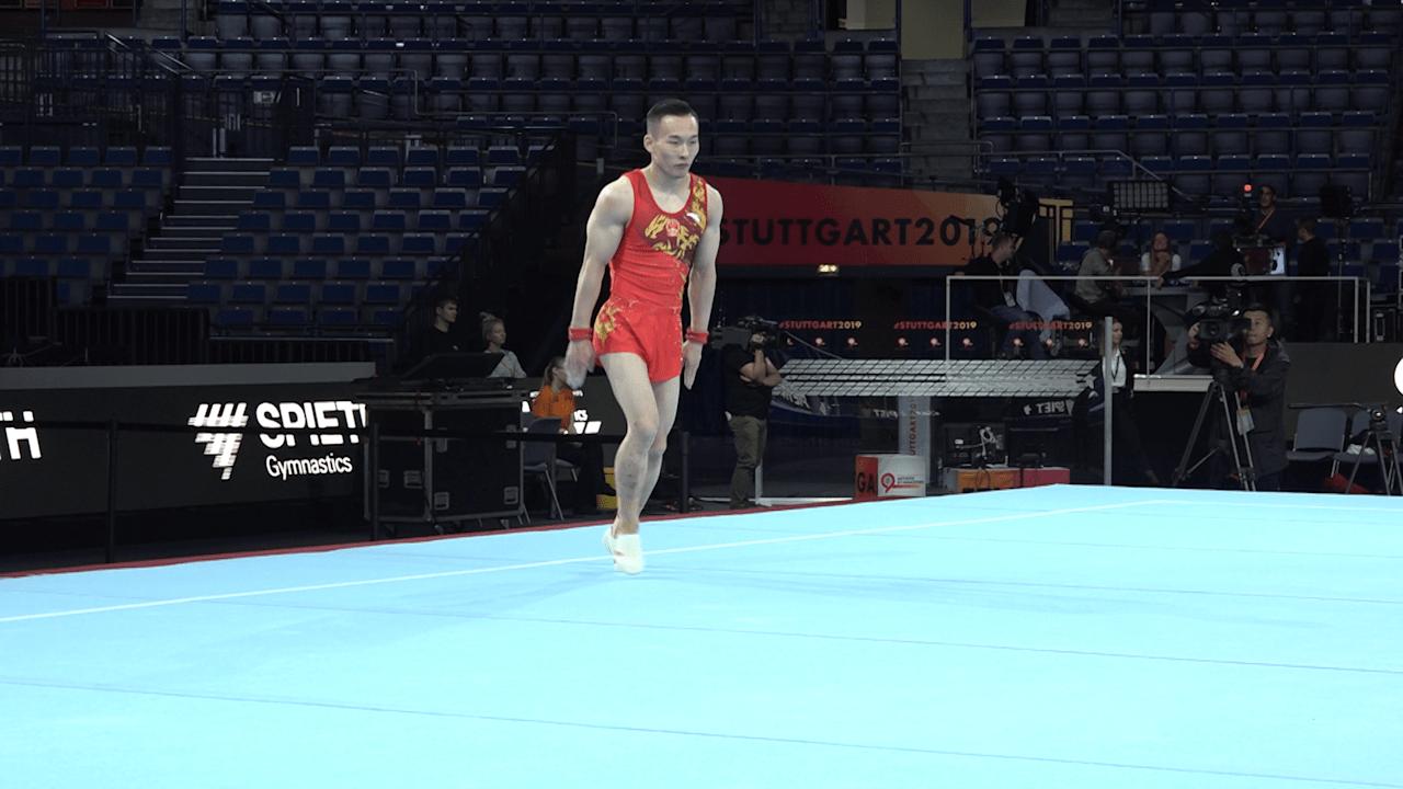 Xiao Ruoteng floor exercise in podium training