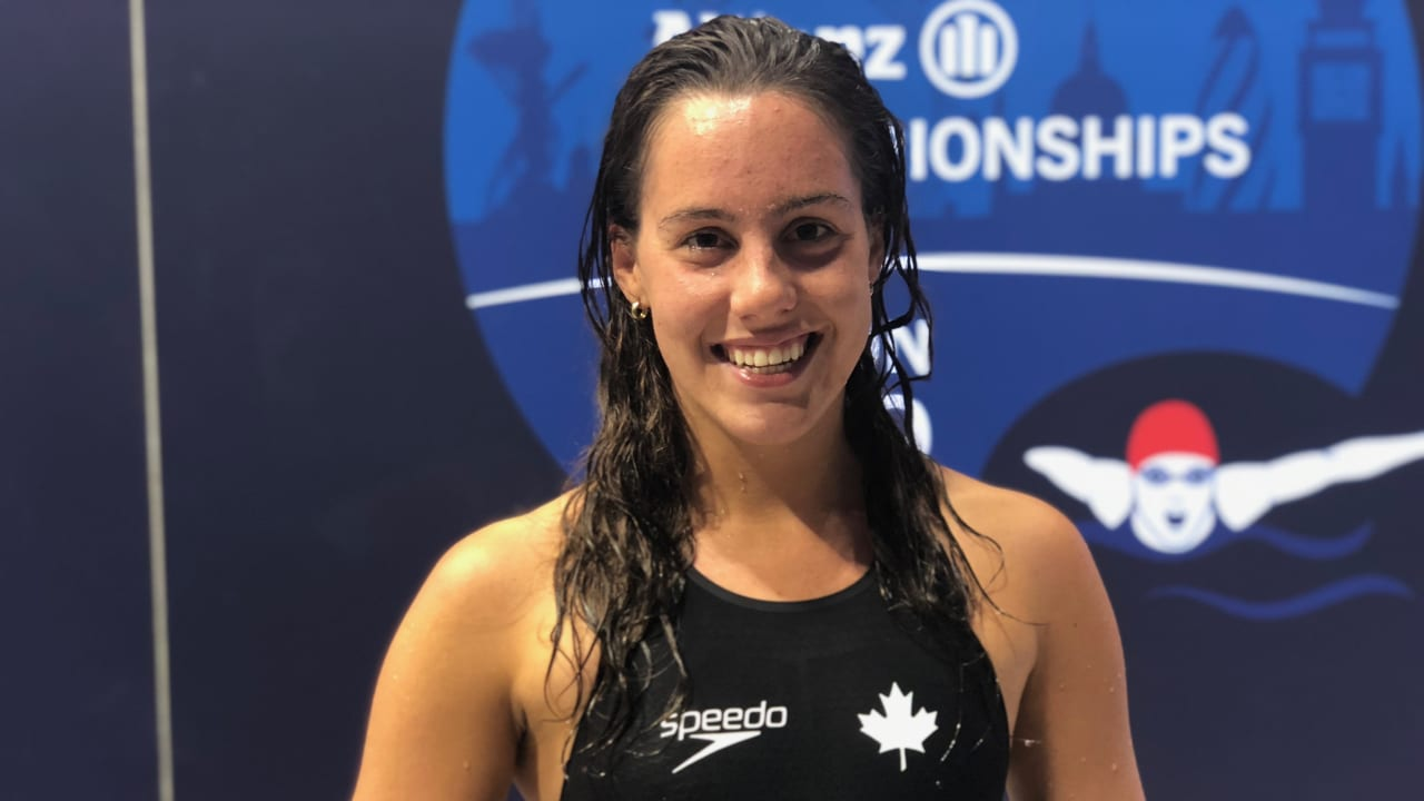 Canada's Aurelie Rivard after winning the women's 50m freestyle S10 at London 2019