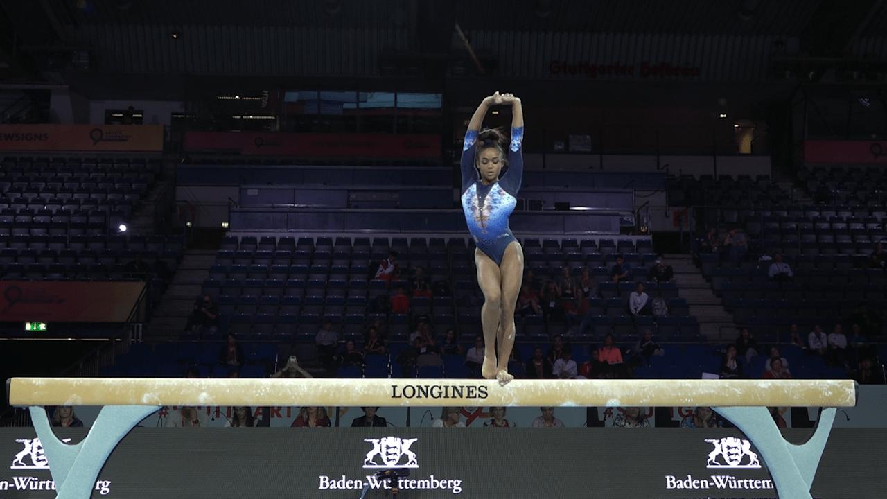 Melanie de Jesus dos Santos on balance beam in podium training