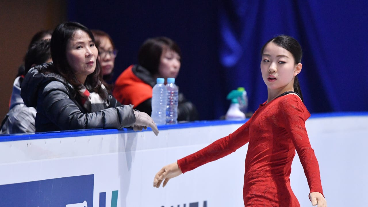 Rika Kihira concentrating on triple Axel