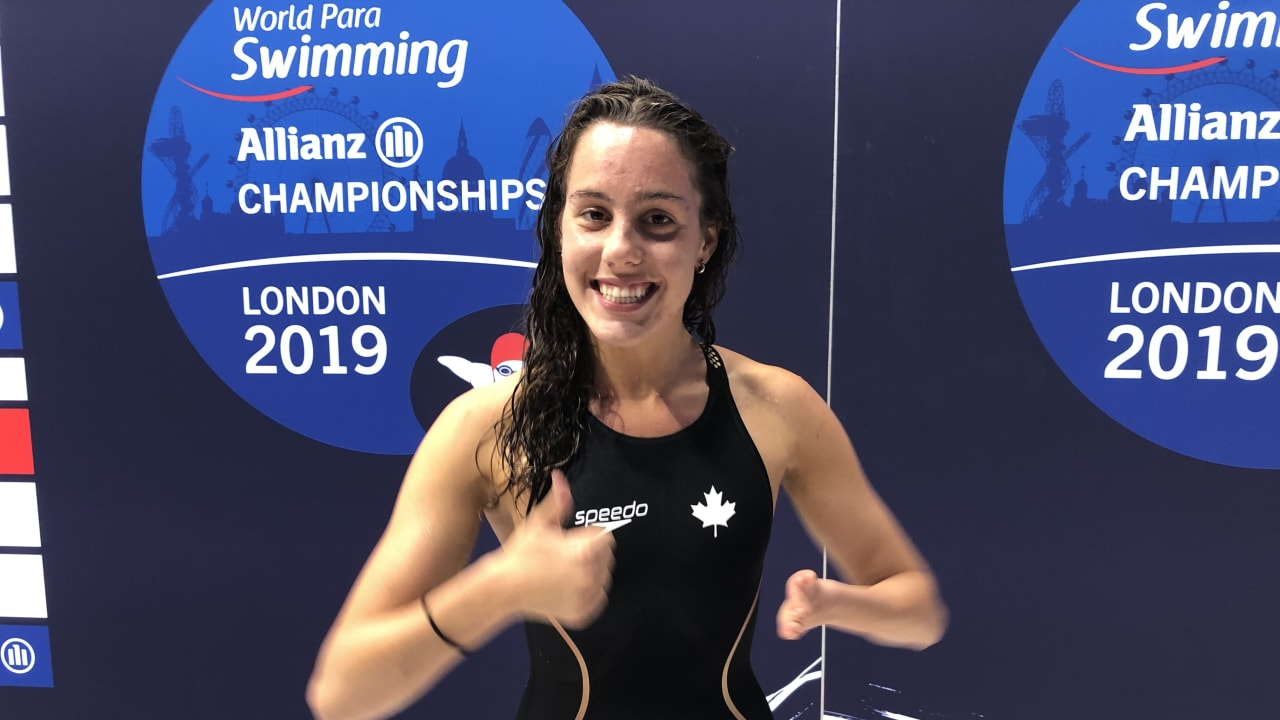 France's Aurelie Rivard after winning the 100m freestyle S10 at London 2019