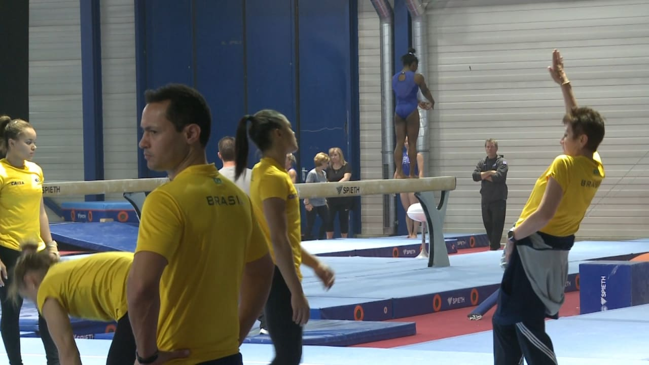 WATCH: Biles lands double-double dismount off beam in practice