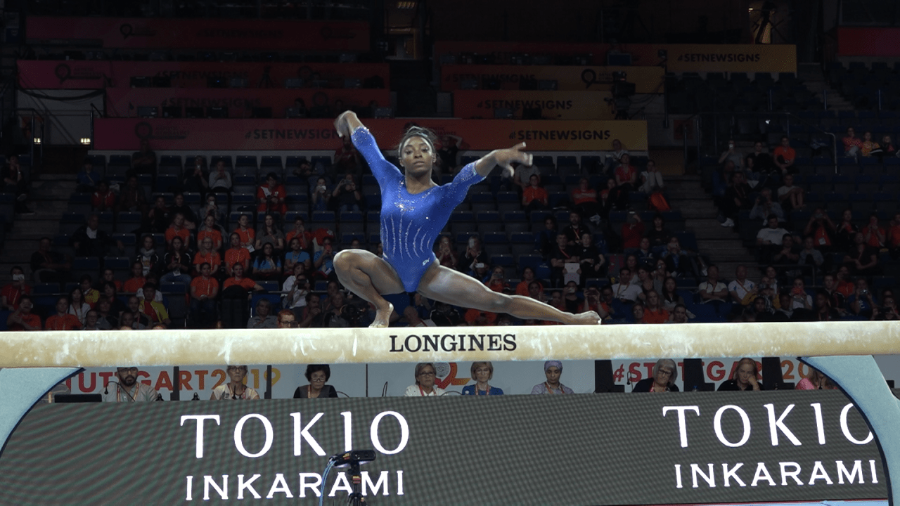 WATCH: Simone Biles on balance beam at podium training