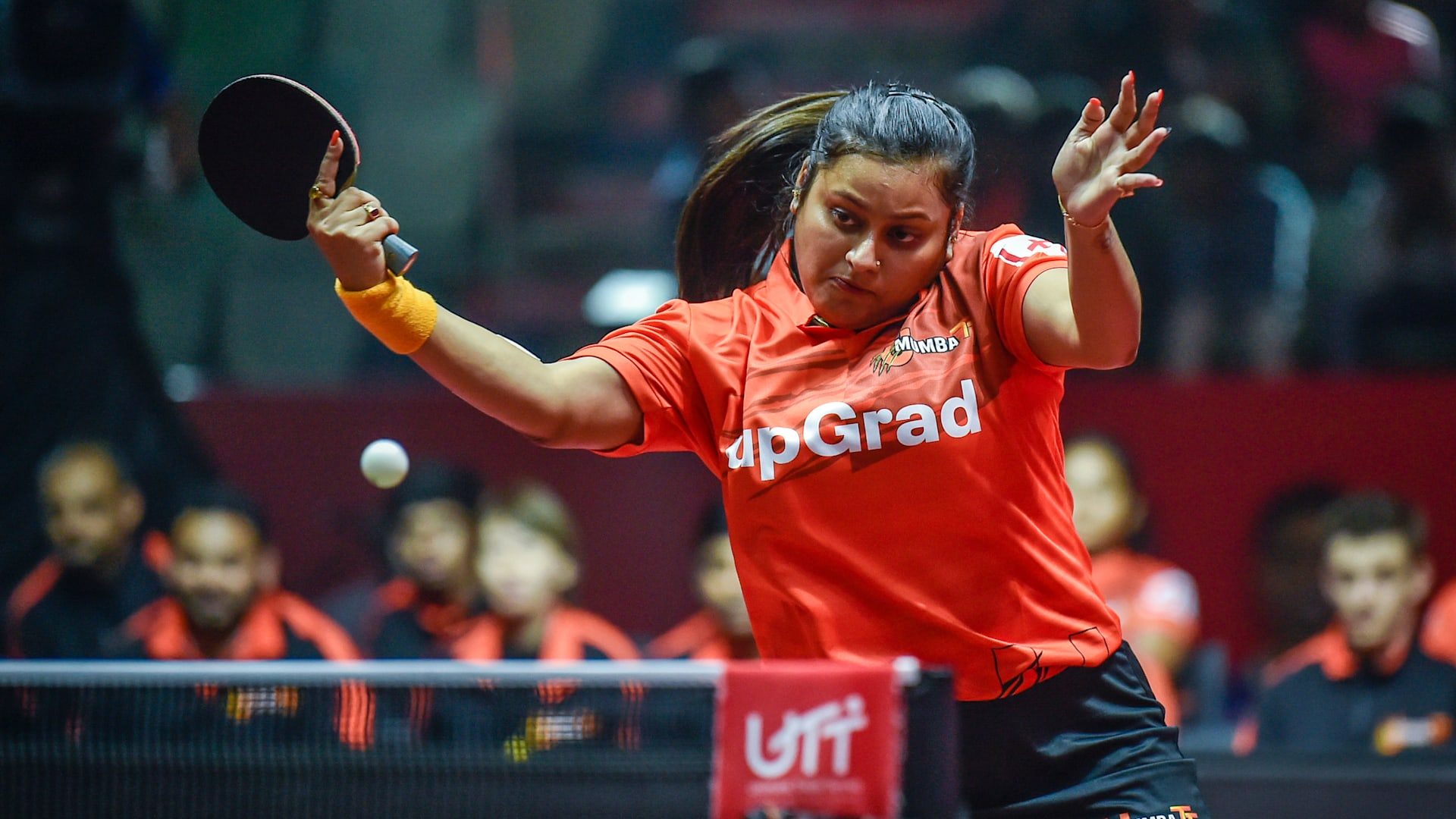 Sutirtha Mukherjee in action during UTT(Ultimate Table Tennis League)