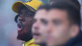 Usain Bolt looks animated during Central Coast's A-League trial match with Newcastle