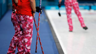 The famous heart-decorated pants worn by Christoffer Svae, Torger Nergard, Thomas Ulsrud and Havard Vad Petersson of Norway as they compete in the Curling competition in the 2018 PyeongChang Winter Olympic Games.