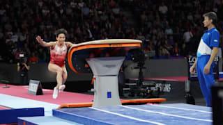 Oksana Chusovitina vaulting at the 2019 World Championships (Photo: Olympic Channel)