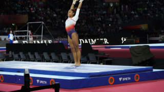 Mélanie de Jesus dos Santos vaults at the 2019 World Championships (Photo: Olympic Channel)