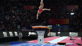 Oksana Chusovitina performing her second vault in qualification at the 2019 World Championships (Photo: Olympic Channel)