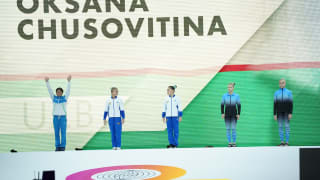 Oksana Chusovitina is introduced to the crowd at the 2019 World Championships (Photo: Olympic Channel)
