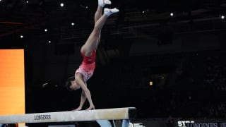 Oksana Chusovitina performing on balance beam at the 2019 World Championships (Photo: Olympic Channel)