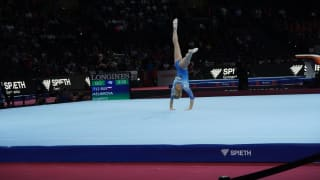 Angelina Melnikova performing on floor at the 2019 World Championships (Photo: Olympic Channel)