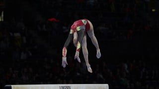 Nina Derwael tumbles on the balance beam at the World Championships (Photo: Olympic Channel)