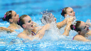 Team Russia competes in the Team Technical Final on day five of the Gwangju 2019 FINA World Championships at Yeomju Gymnasium on July 16, 2019 in Gwangju, South Korea. (Photo by Catherine Ivill/Getty Images)