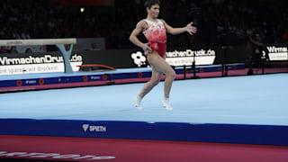 Oksana Chusovitina performing on floor at the 2019 World Championships (Photo: Olympic Channel)
