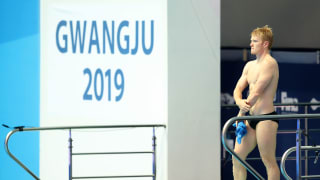 James Heatly of Great Britain looks on during the Men's 3m Springboard preliminary round on day six of the Gwangju 2019 FINA World Championships at Nambu International Aquatics Centre on July 17, 2019 in Gwangju, South Korea. (Photo by Catherine Ivill/Getty Images)