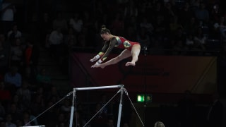 Defending uneven bars world champion Nina Derwael in action at the 2019 World Championships. (Photo: Olympic Channel)