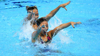Debbie Soh and Miya Yong of Singapore compete in the Duet Free preliminary round on day five of the Gwangju 2019 FINA World Championships at Yeomju Gymnasium on July 16, 2019 in Gwangju, South Korea. (Photo by Quinn Rooney/Getty Images)