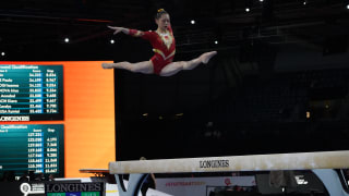 Defending beam world champ Liu Tingting performs at the 2019 World Championships (Photo: Olympic Channel)
