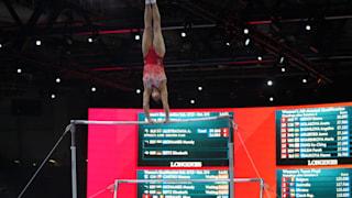Oksana Chusovitina performing on uneven bars at the 2019 World Championships (Photo: Olympic Channel)