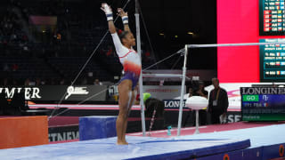 Mélanie de Jesus dos Santos performs on uneven bars at the 2019 World Championships (Photo: Olympic Channel)