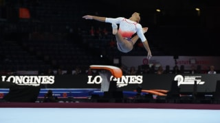 Mélanie de Jesus dos Santos performs on floor at the 2019 World Championships (Photo: Olympic Channel)