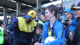 Usain Bolt meets fans before Central Coast's A-League trial match with Newcastle