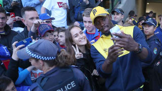 Usain Bolt takes a selfie before Central Coast's A-League trial match with Newcastle