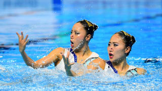Yukiko Inui and Megumu Yoshida of Japan compete in the Duet Free Final on day seven of the Gwangju 2019 FINA World Championships at Yeomju Gymnasium on July 18, 2019 in Gwangju, South Korea. (Photo by Quinn Rooney/Getty Images)