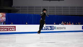 Yuzuru Hanyu jumps during practice for the free skate