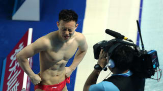 Siyi Xie of China reacts after his attempt during the Men's 3m Springboard Final on day seven of the Gwangju 2019 FINA World Championships at Nambu International Aquatics Centre on July 18, 2019 in Gwangju, South Korea. (Photo by Maddie Meyer/Getty Images)