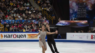 Madison Hubbell and Zachary Donohue on ice during their free dance