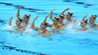 Team United States competes in the Team Free preliminary round on day six of the Gwangju 2019 FINA World Championships at Yeomju Gymnasium on July 17, 2019 in Gwangju, South Korea. (Photo by Maddie Meyer/Getty Images)