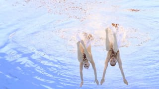 Svetlana Kolesnichenko and Svetlana Romashina of Russia compete in the Duet Free Final on day seven of the Gwangju 2019 FINA World Championships at Yeomju Gymnasium on July 18, 2019 in Gwangju, South Korea. (Photo by Catherine Ivill/Getty Images)