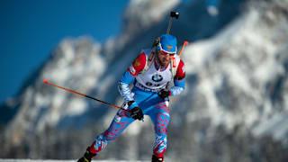 Alexander Loginov during the IBU Biathlon World Cup Men's 10 km Sprint in Hochfilzen, Austria.