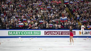 Alina Zagitova thanks the crowd after her gold medal free skate at the World Championships