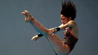 Matsuri Arai of Japan competes in the Women's 10m Platform Semifinal on day five of the Gwangju 2019 FINA World Championships at Nambu International Aquatics Centre on July 16, 2019 in Gwangju, South Korea. (Photo by Clive Rose/Getty Images)