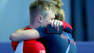 Jack Laugher of Great Britain reacts before the medal ceremony for the Men's 3m Springboard Final on day seven of the Gwangju 2019 FINA World Championships at Nambu International Aquatics Centre on July 18, 2019 in Gwangju, South Korea. (Photo by Clive Rose/Getty Images)