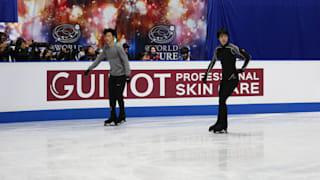 Nathan Chen and Yuzuru Hanyu during practice