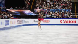 Alina Zagitova jumps during her gold medal free skate at the World Championships