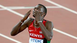 Nicholas Kiplagat Bett of Kenya celebrates after winning World Championship gold