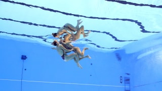 Kate Shortman and Isabelle Thorpe of Great Britain compete in the Duet Free preliminary round on day five of the Gwangju 2019 FINA World Championships at Yeomju Gymnasium on July 16, 2019 in Gwangju, South Korea. (Photo by Catherine Ivill/Getty Images)