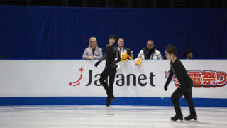 Yuzuru Hanyu on ice during free skate practice