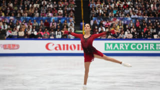 Evgenia Medevedeva skating during the short program in Saitama