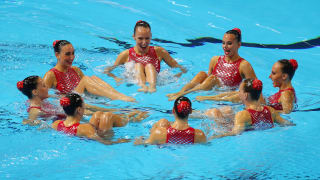 Team Israel competes in the Free Combination preliminary round day seven of the Gwangju 2019 FINA World Championships at Yeomju Gymnasium on July 18, 2019 in Gwangju, South Korea. (Photo by Catherine Ivill/Getty Images)