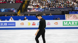 Nathan Chen performing during his short program at 2019 Worlds
