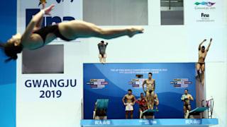 18th FINA World Swimming Championships - Men's 3m Springboard Semi-Final - Nambu University Municipal Aquatics Center, Gwangju, South Korea - July 17, 2019. Swimmers warm up before the event. REUTERS/Antonio Bronic