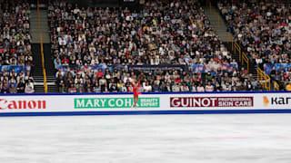 Elizabet Tursynbaeva jumps during her free skate at the World Championships