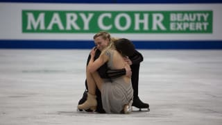 Madison Hubbell and Zachary Donohue react on ice during their free dance